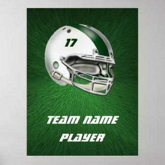 Casco de fútbol americano blanco y verde oscuro posters