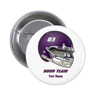 Casco de fútbol americano de la púrpura de la bere pin redondo de 2 pulgadas