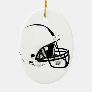 Casco de fútbol americano del arte pop adorno navideño ovalado de cerámica