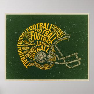 Casco de fútbol americano del vintage póster