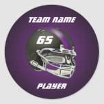 Casco de fútbol americano negro y púrpura etiquetas redondas