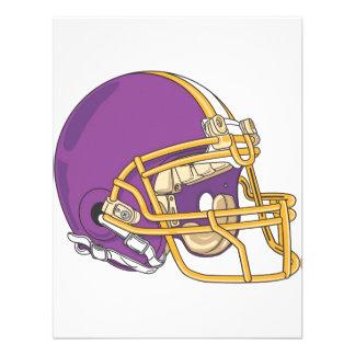 Casco de fútbol americano púrpura del oro anuncio personalizado