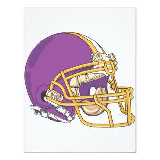"""Casco de fútbol americano púrpura del oro invitación 4.25"""" x 5.5"""""""
