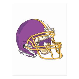 Casco de fútbol americano púrpura del oro tarjetas postales