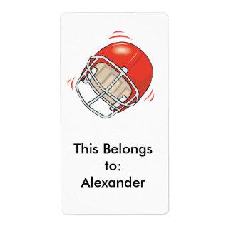 casco de fútbol americano rojo etiqueta de envío
