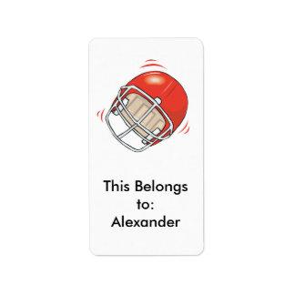 casco de fútbol americano rojo etiquetas de dirección