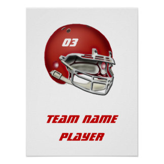 Casco de fútbol americano rojo póster