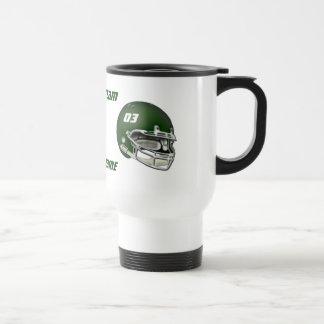 Casco de fútbol americano verde taza de viaje