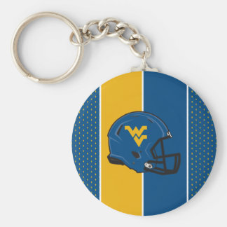 Casco de la universidad de Virginia Occidental Llavero Redondo Tipo Pin