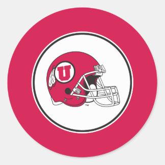 Casco de los Utes de Utah Pegatina Redonda