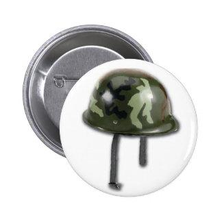 Casco del ejército pin redondo de 2 pulgadas