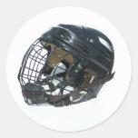 Casco del hockey pegatina redonda