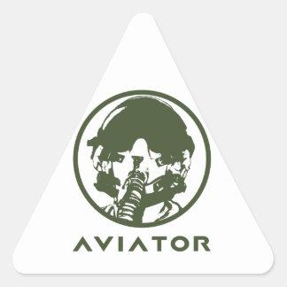 Casco del piloto de caza del aviador pegatina triangular