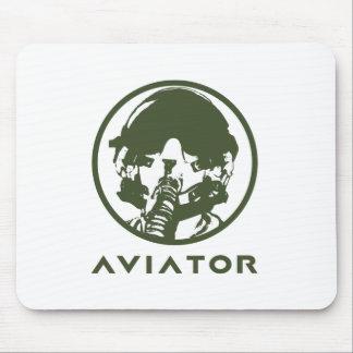 Casco del piloto de caza del aviador alfombrilla de ratón