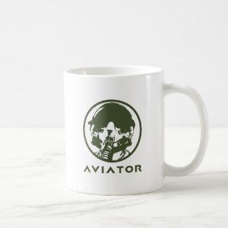 Casco del piloto de caza del aviador taza básica blanca