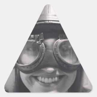 casco divertido pegatina triangular
