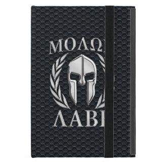 Casco espartano del cromo de Molon Labe en iPad Mini Protectores