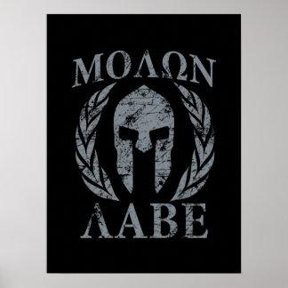 Casco espartano del Grunge de Molon Labe Poster