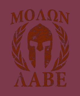 Casco espartano del Grunge de Molon Labe Camisetas