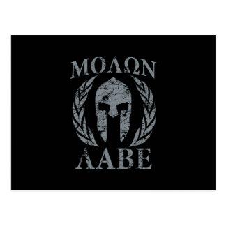 Casco espartano del Grunge de Molon Labe Postal