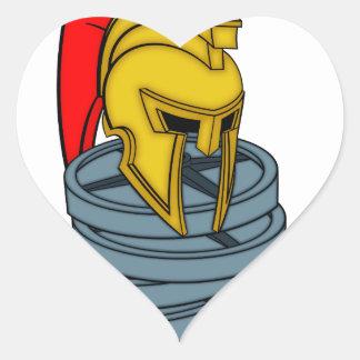 casco espartano en pesos pegatina en forma de corazón