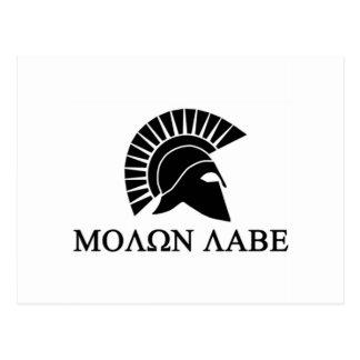 Casco espartano Molon Labe Postal