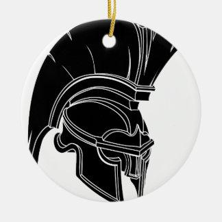 Casco espartano o trojan adorno redondo de cerámica