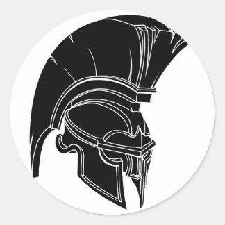 Casco espartano o trojan etiqueta redonda