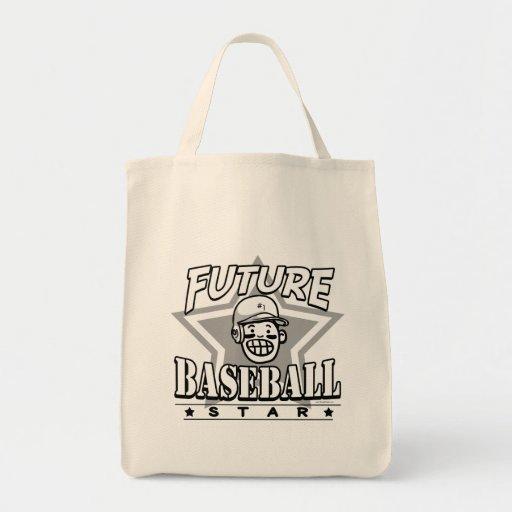 Casco futuro del blanco de la estrella de béisbol bolsas lienzo