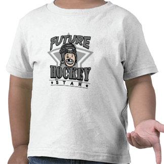 Casco futuro del negro de la estrella del hockey camiseta
