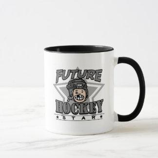 Casco futuro del negro de la estrella del hockey taza