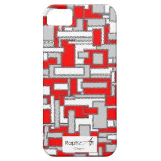 Casco Iphone5 Tejido de Cuero Rojo y Gris Funda Para iPhone 5 Barely There