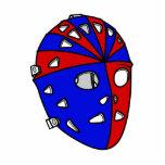 Casco rojo y azul del portero del hockey escultura fotografica
