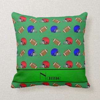Cascos de fútboles verdes conocidos personalizados almohada