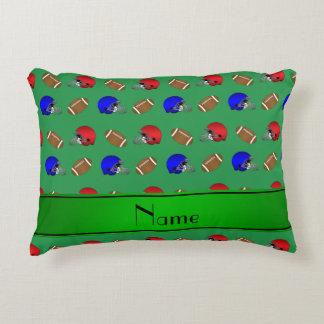 Cascos de fútboles verdes conocidos personalizados cojín decorativo