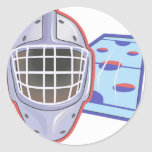 Cascos del hockey etiqueta redonda