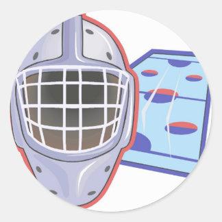 Cascos del hockey pegatina redonda