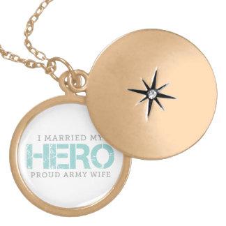 Casé a mi héroe - esposa del ejército collar con colgante