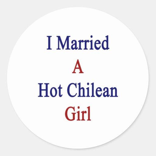 Casé a un chica chileno caliente pegatina redonda