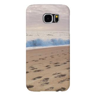 Case: Beach waves and footprints Samsung Galaxy S6 Case