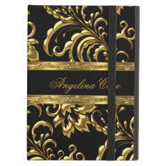 Case Elegant Gold Black Damask Fashionable at Zazzle