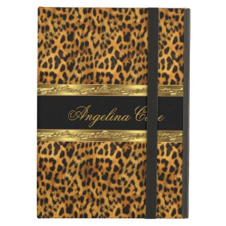 Case Elegant Gold black Leopard Animal Print iPad Covers