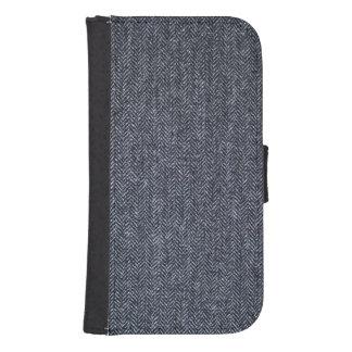 Case: Gray Tweed Fabric Samsung S4 Wallet Case