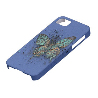 Case-Mate - Blue with Butterfly iPhone SE/5/5s Case