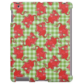 Case-Mate iPad Case: Red Dragons on Green Gingham