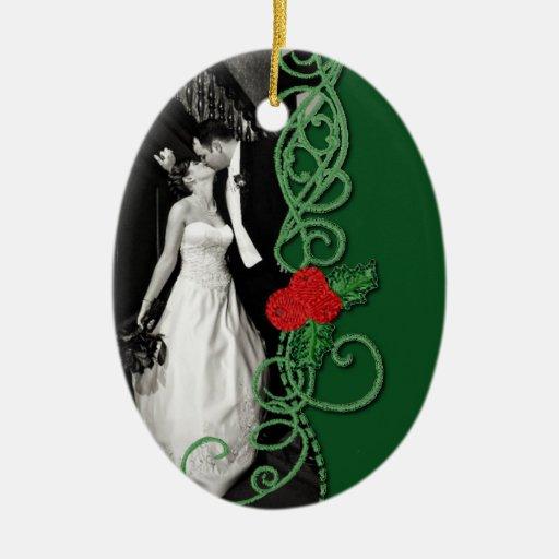 Case nuevamente el ornamento adorno navideño ovalado de cerámica