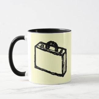 Case Sketch. Black and Cream. Suitcase, Briefcase Mug