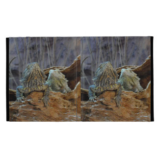 Caseable IPad Case with two curious lizards