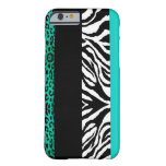 caseAqua Blue Leopard and Zebra Custom Animal Prin iPhone 6 Case