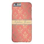 caseGilded Peach Elegant Faux Shimmer Damaskcase iPhone 6 Case